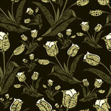 Seamless vintage floral pattern with tulips Royalty Free Stock Image