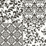 4 Seamless Floral Retro Patterns Royalty Free Stock Photo