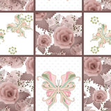 Seamless vintage floral pink retro rose butterfly pattern backgr Stock Photography