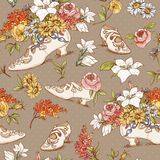 Seamless Vintage Flowers and Shoes Background Royalty Free Stock Photography