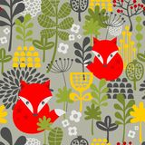 Seamless vintage fox and flowers pattern. stock illustration