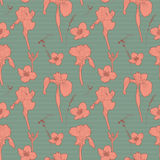 Seamless vintage green floral pattern with orange iris Royalty Free Stock Image