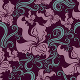 Seamless vintage grunge floral pattern with orchid Royalty Free Stock Images