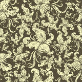 Seamless vintage grunge floral pattern with orchid Royalty Free Stock Photo