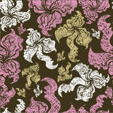 Seamless vintage grunge floral pattern with orchid Stock Images