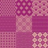 Seamless vintage japanese pattern set Royalty Free Stock Images