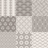 Seamless vintage japanese pattern set Stock Images