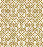 Seamless vintage Japanese style golden polygon flower pattern background. Stock Photography