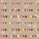 Seamless vintage light beige pattern with traditional Christmas flags. Stock Images