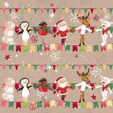 Seamless vintage light beige pattern with traditional Christmas flags Royalty Free Stock Photography