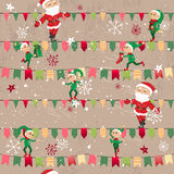 Seamless vintage light beige pattern with traditional Christmas flags Stock Photo