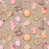 Seamless vintage light beige pattern with traditional Christmas ginger cookies. Royalty Free Stock Photo
