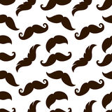 Seamless vintage mustaches on white background Royalty Free Stock Image