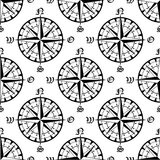 Seamless vintage navigation compass pattern Royalty Free Stock Photo