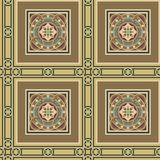 Seamless vintage ornamental tile set square. Editable seamless vintage tile set in ochre, brown, black, red, blue colors. Includes three types of tiles, one for Stock Photo