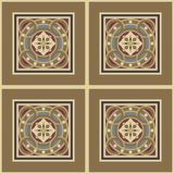 Seamless vintage ornamental tile set square. Editable seamless vintage tile  set in ochre, brown, black, red, blue colors. The main element - a flower in circles Royalty Free Stock Images