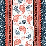 Seamless vintage paisley pattern. Floral print - turkish cucumber. Vector illustration drawn by hand. Stylish ornament Stock Images