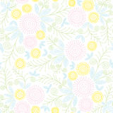 Seamless Vintage Pattern Of A Abstract Dandelion Flower And Floral Elements Royalty Free Stock Images