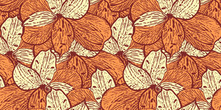 Seamless vintage pattern with alstremerias Royalty Free Stock Photos
