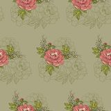 Seamless pattern.Beautiful arrangement of flowers of peony on a green background stock illustration
