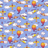 Seamless vintage pattern with balloons, planes and helicopters Stock Image