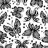 Seamless vintage pattern with black butterflies on a white background. Monochrome background vector illustration