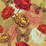 Seamless vintage pattern with blooming roses and c Royalty Free Stock Photography