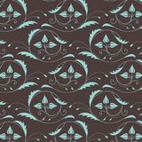 Seamless vintage pattern in blue-brown colors Royalty Free Stock Photography