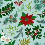 Seamless vintage pattern. Christmas Botanical background. Stock Photo