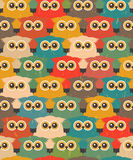Seamless Vintage Pattern with Cute Owls Stock Photo