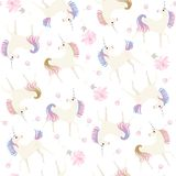 Seamless vintage pattern with cute unicorns and gentle light ponk flowers isolated on white background vector illustration
