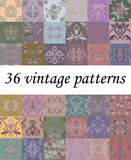Seamless vintage pattern with decorative elements. Vector set of 36. Traditional classic ornament.  Trendy pastel  print. Use for textile design, pattern fills Stock Photography