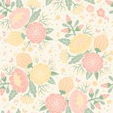 Seamless vintage pattern with decorative flowers. Stock Photography