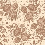 Seamless vintage pattern with decorative flowers. Royalty Free Stock Images