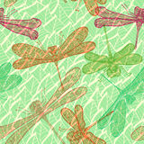 Seamless vintage pattern with dragonflies Royalty Free Stock Photos