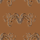 Seamless vintage pattern with elements of abstract floral ornament in brown tones Stock Images