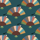 Seamless vintage pattern with fans and eyes Royalty Free Stock Photo