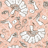 Seamless vintage pattern. With female hands and accessories on it Stock Photography