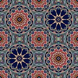 Seamless vintage pattern with flowers mandalas and stylized leaves. Thai, indian motives. Luxury vector background vector illustration