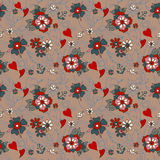 Seamless Vintage pattern with flowers for Valentine design Royalty Free Stock Photography