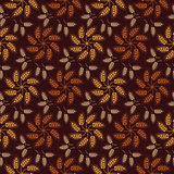 Seamless vintage pattern with flowers from wheat ears. Brown agr Stock Photography