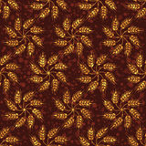 Seamless vintage pattern with flowers from yellow wheat. Brown  Stock Photo