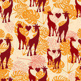 Seamless vintage pattern with giraffe  and monstera lives Stock Photos