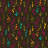 Seamless vintage pattern with hand drawn feathers Royalty Free Stock Photography