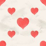 Seamless vintage pattern of hand drawn watercolor paint hearts Stock Photos