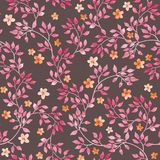 Seamless vintage pattern - hand painted leaves and ditsy pink flower. Aquarelle design on dark brown background. Seamless vintage pattern with hand painted Royalty Free Stock Image