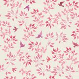 Seamless vintage pattern with hand painted pink leaves, birds. Watercolor girly or feminine design Stock Image