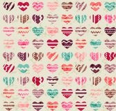 Seamless vintage pattern with hearts Royalty Free Stock Photography