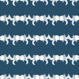 Seamless vintage pattern kissing fish on dark blue background Stock Photo