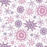 Seamless vintage pattern with lace ornate snowflakes Stock Photography